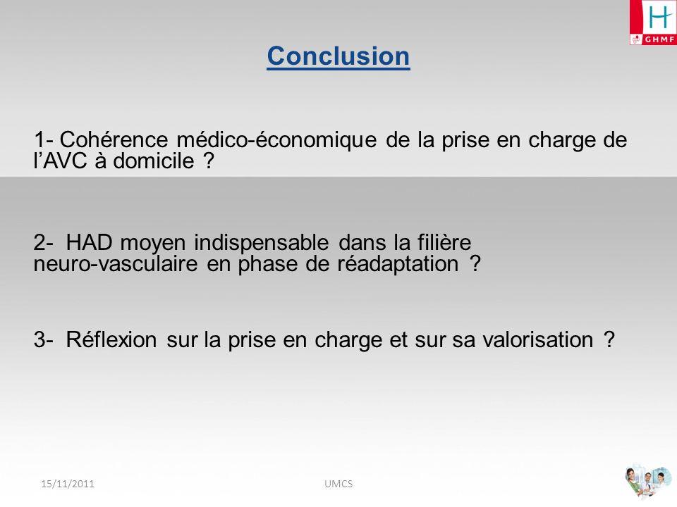 Conclusion 1- Cohérence médico-économique de la prise en charge de l'AVC à domicile