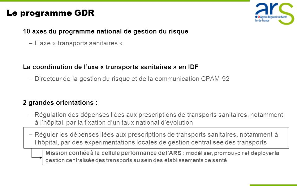 Le programme GDR 10 axes du programme national de gestion du risque