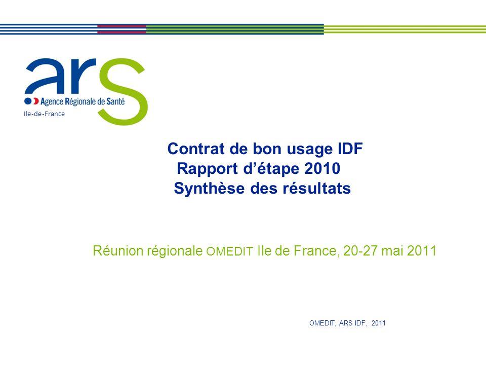 Contrat de bon usage IDF Rapport d'étape 2010 Synthèse des résultats