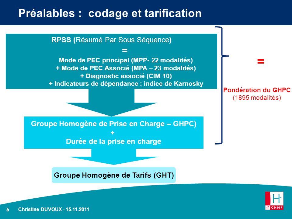 Préalables : codage et tarification