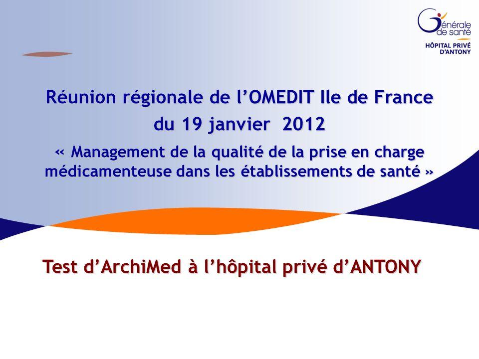 Réunion régionale de l'OMEDIT Ile de France du 19 janvier 2012