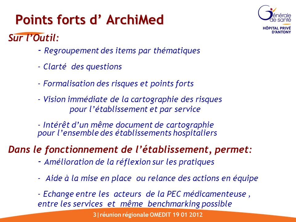 Points forts d' ArchiMed