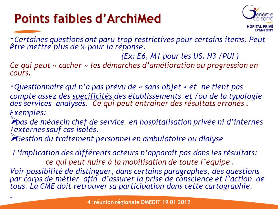 Points faibles d'ArchiMed