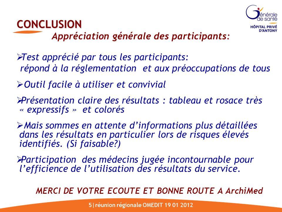 Appréciation générale des participants: