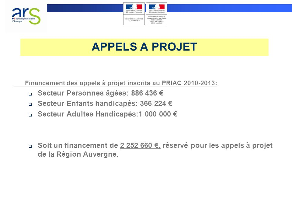 APPELS A PROJET Secteur Personnes âgées: 886 436 €