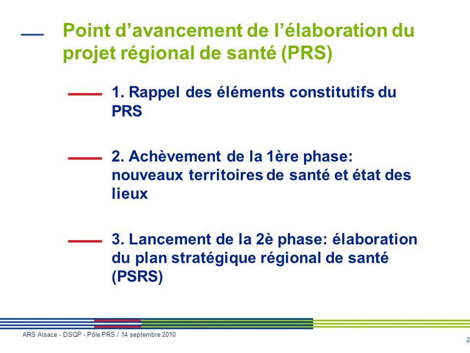 Point d'avancement de l'élaboration du projet régional de santé (PRS)