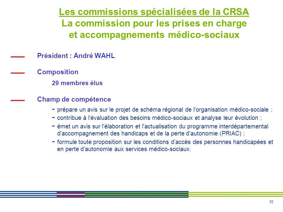Les commissions spécialisées de la CRSA La commission pour les prises en charge et accompagnements médico-sociaux