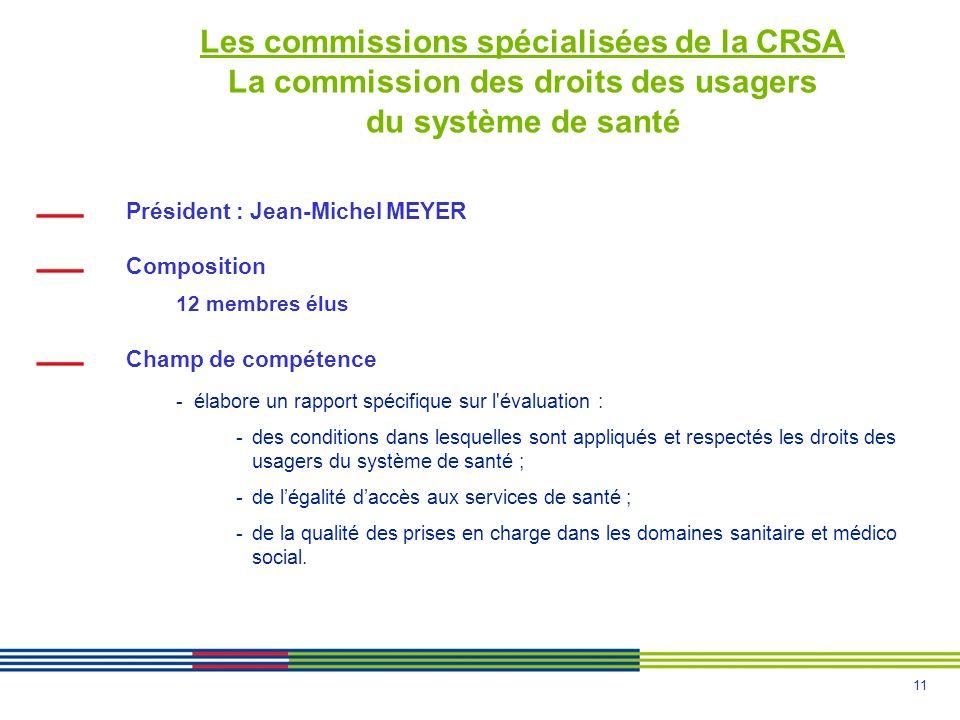 Les commissions spécialisées de la CRSA La commission des droits des usagers du système de santé