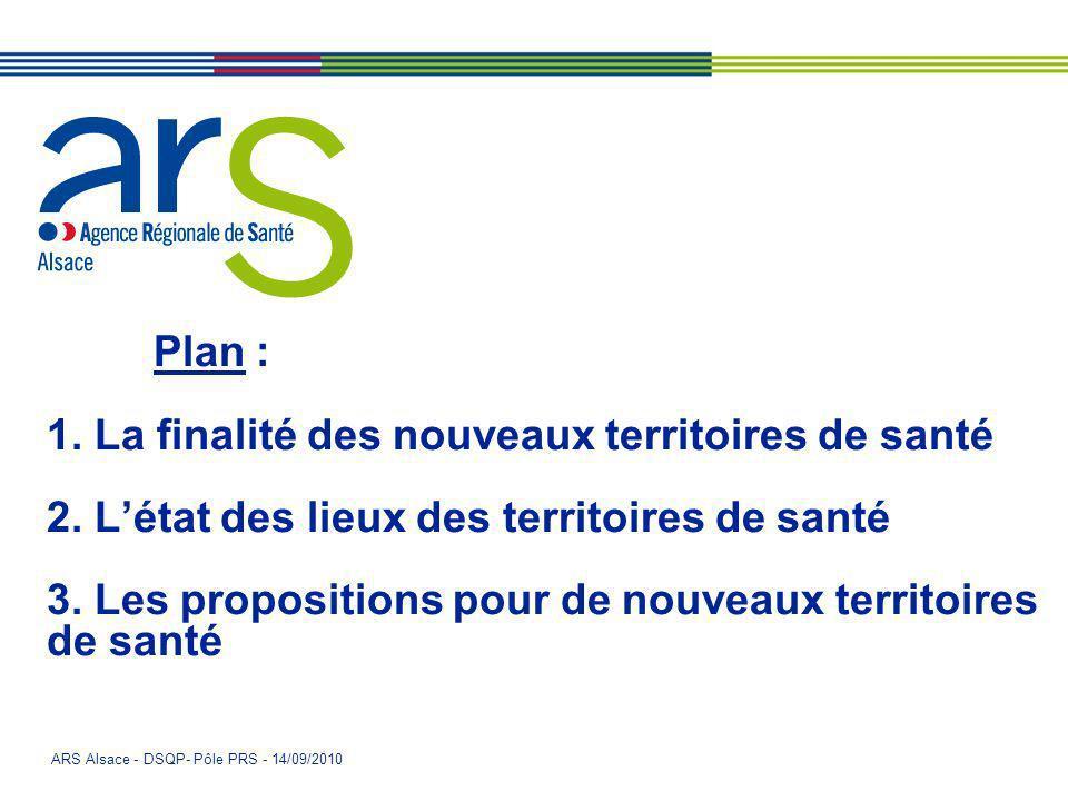 Plan : 1. La finalité des nouveaux territoires de santé 2