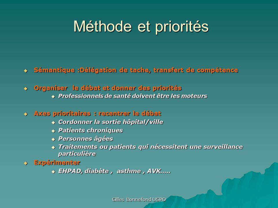Méthode et priorités Sémantique :Délégation de tache, transfert de compétence. Organiser le débat et donner des priorités.