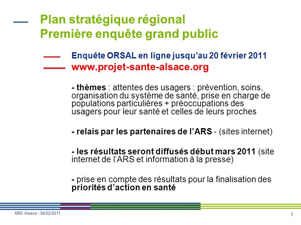 Plan stratégique régional Première enquête grand public