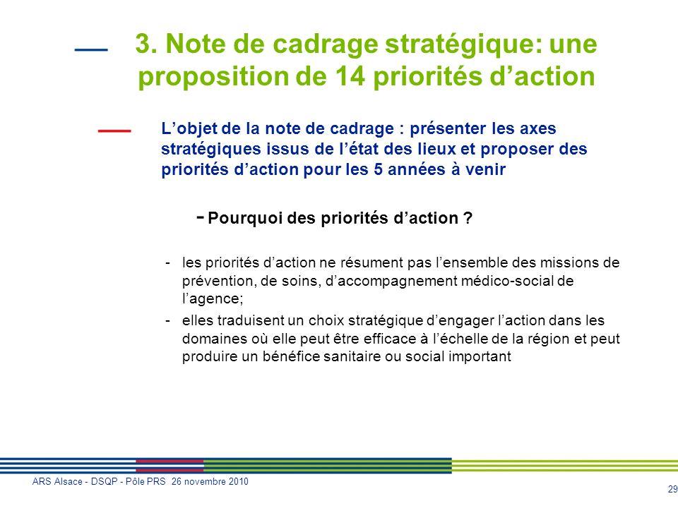 3. Note de cadrage stratégique: une proposition de 14 priorités d'action