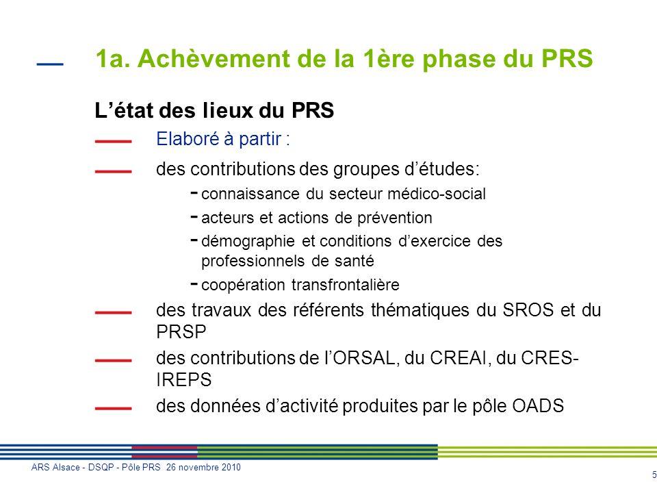 1a. Achèvement de la 1ère phase du PRS