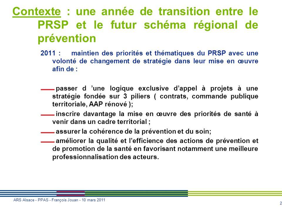 Contexte : une année de transition entre le PRSP et le futur schéma régional de prévention