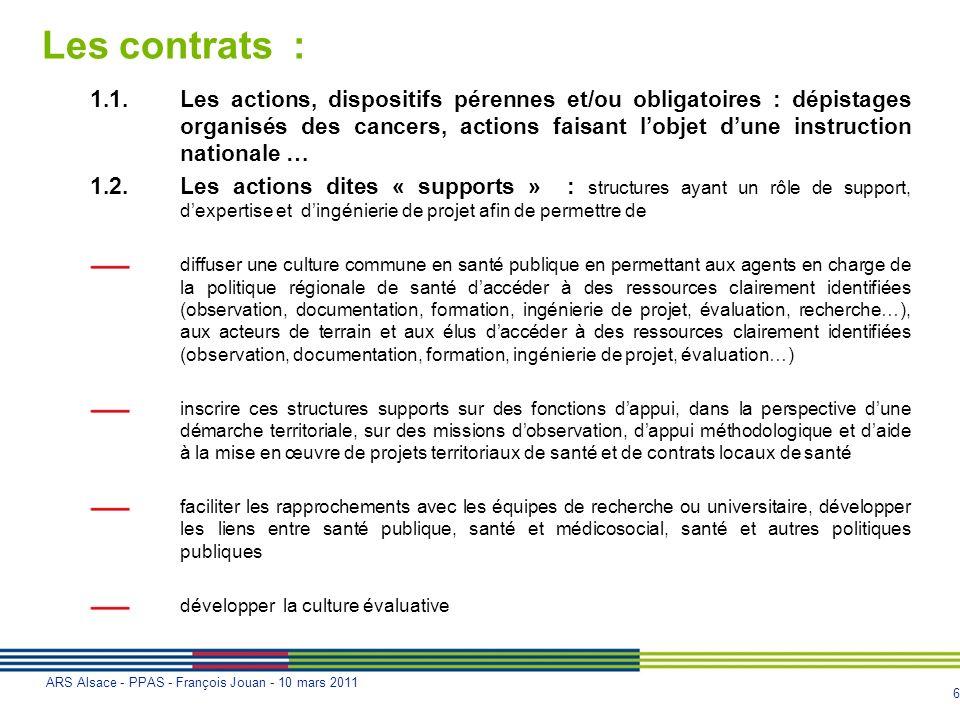 Les contrats :