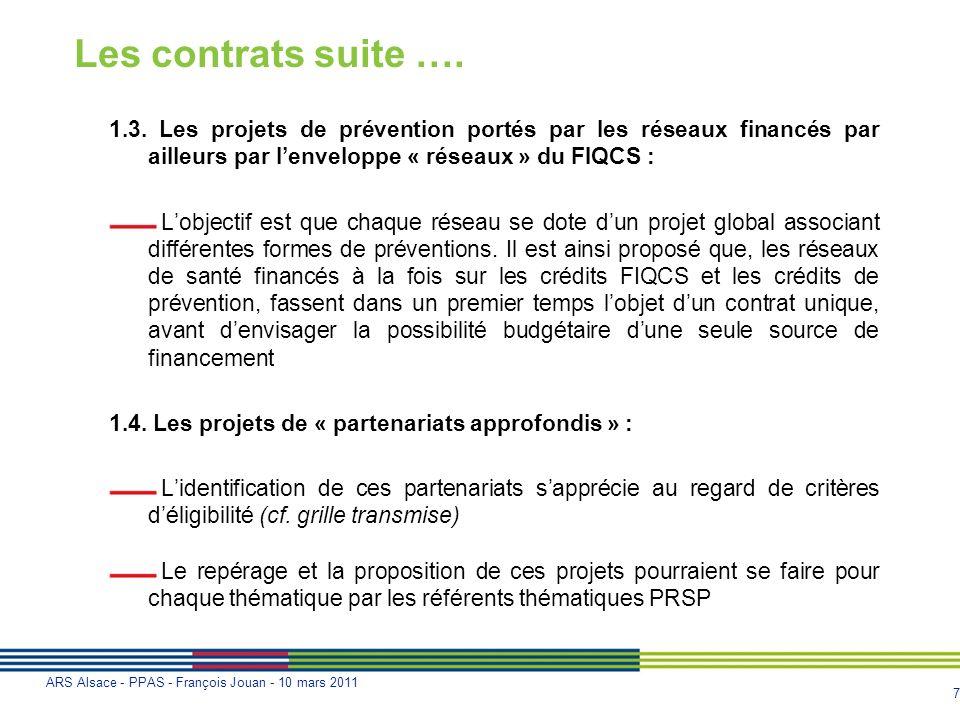 Les contrats suite ….1.3. Les projets de prévention portés par les réseaux financés par ailleurs par l'enveloppe « réseaux » du FIQCS :