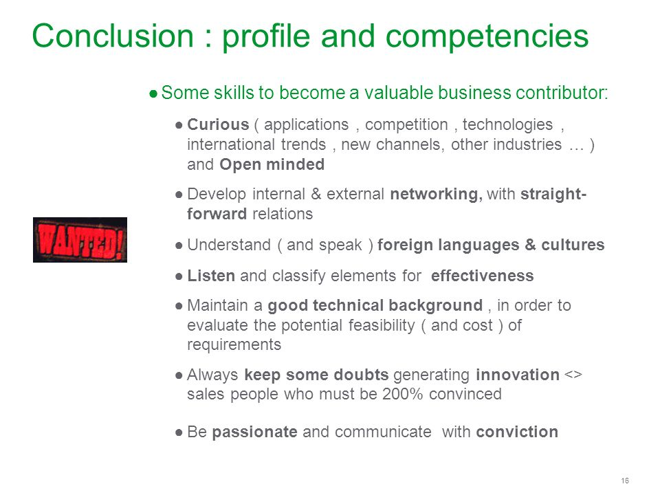 Conclusion : profile and competencies