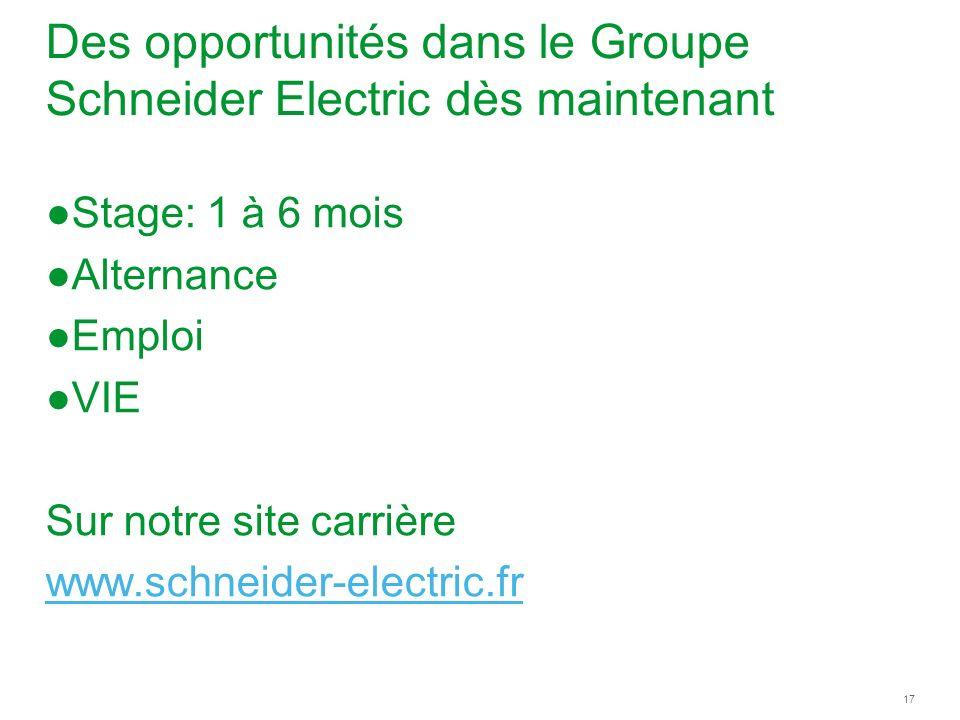 Des opportunités dans le Groupe Schneider Electric dès maintenant