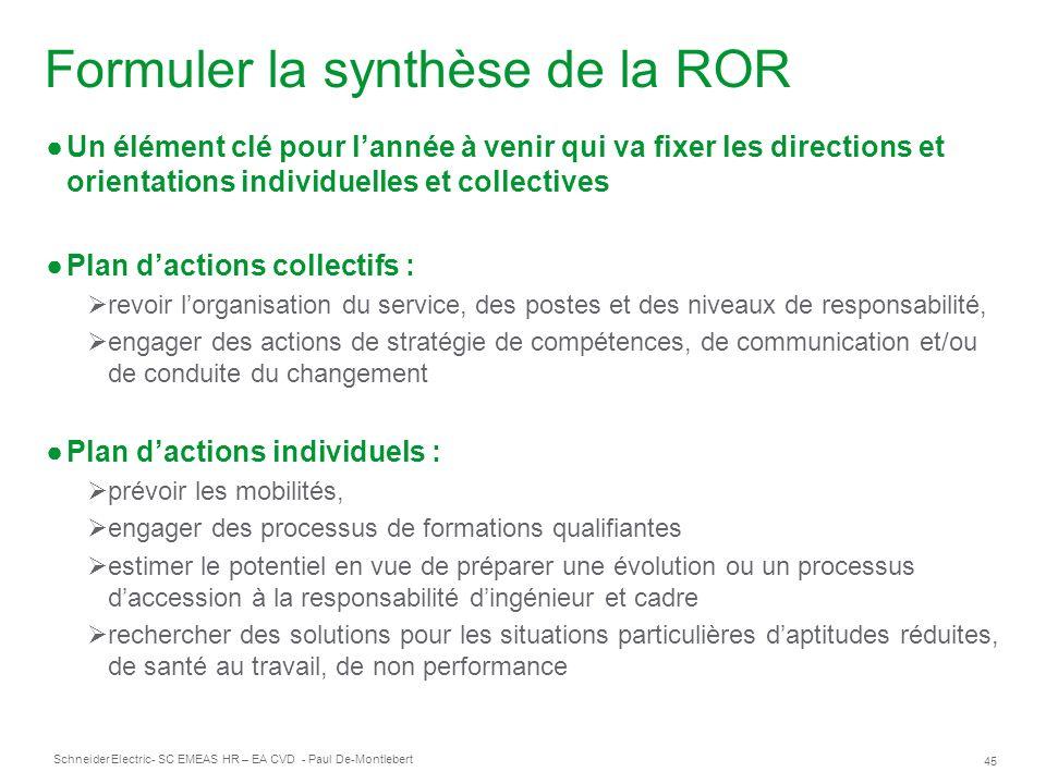 Formuler la synthèse de la ROR