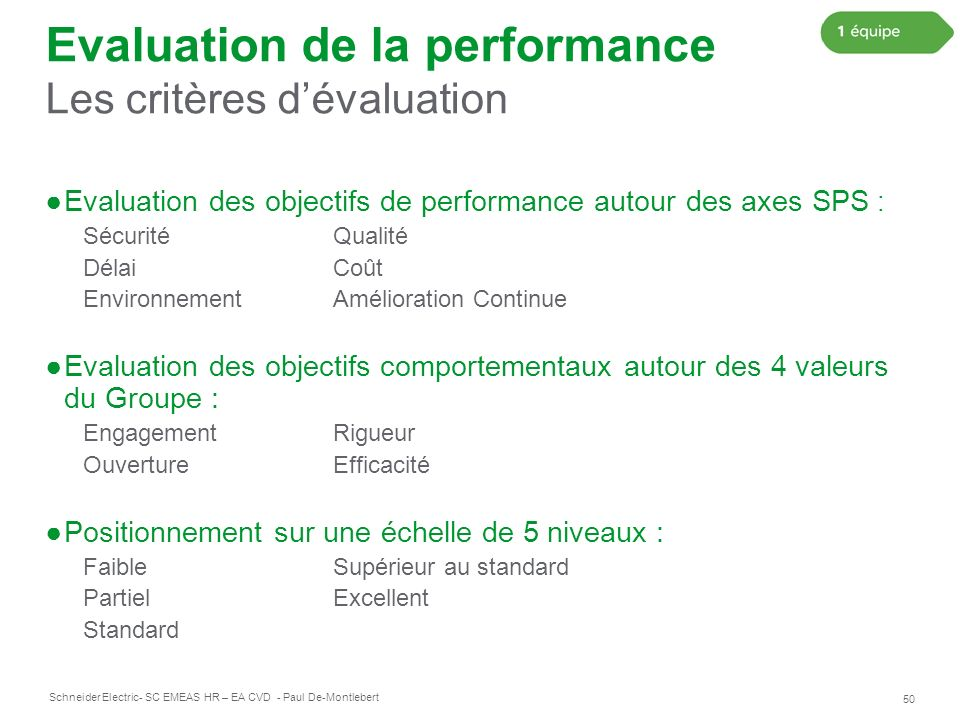 Evaluation de la performance Les critères d'évaluation