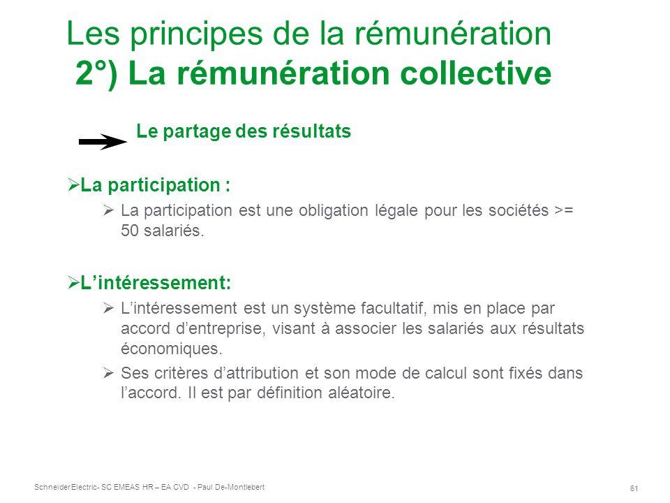 Les principes de la rémunération 2°) La rémunération collective