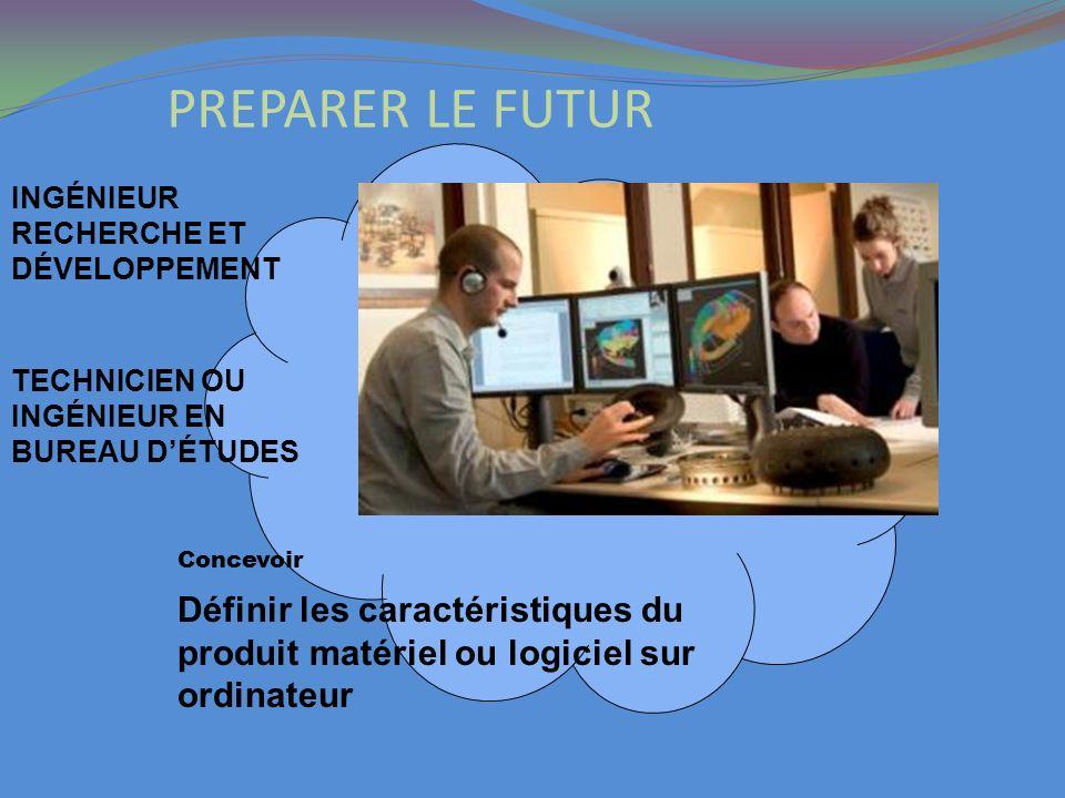 PREPARER LE FUTURINGÉNIEUR RECHERCHE ET DÉVELOPPEMENT. Définir les caractéristiques du produit matériel ou logiciel sur ordinateur.