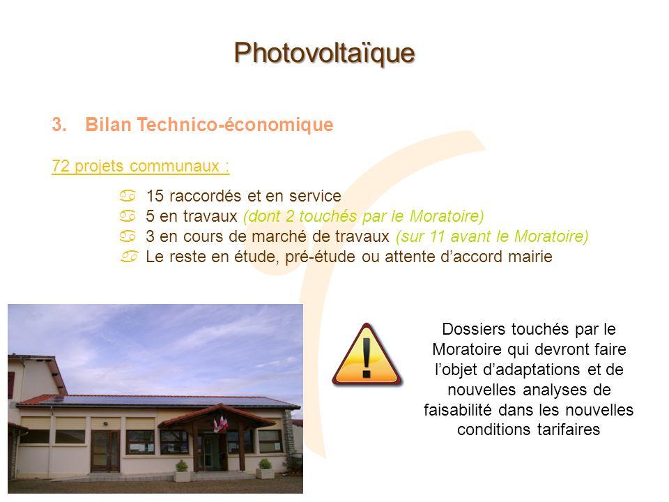 Photovoltaïque Bilan Technico-économique 72 projets communaux :