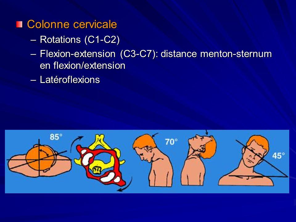 Colonne cervicale Rotations (C1-C2)