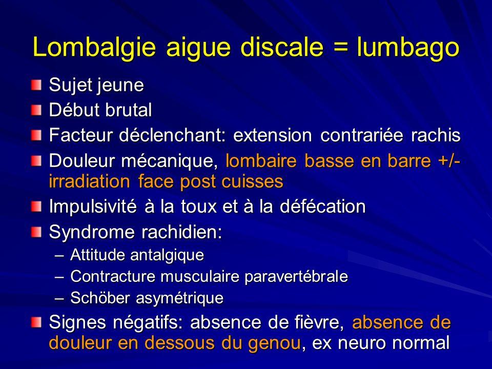 Lombalgie aigue discale = lumbago