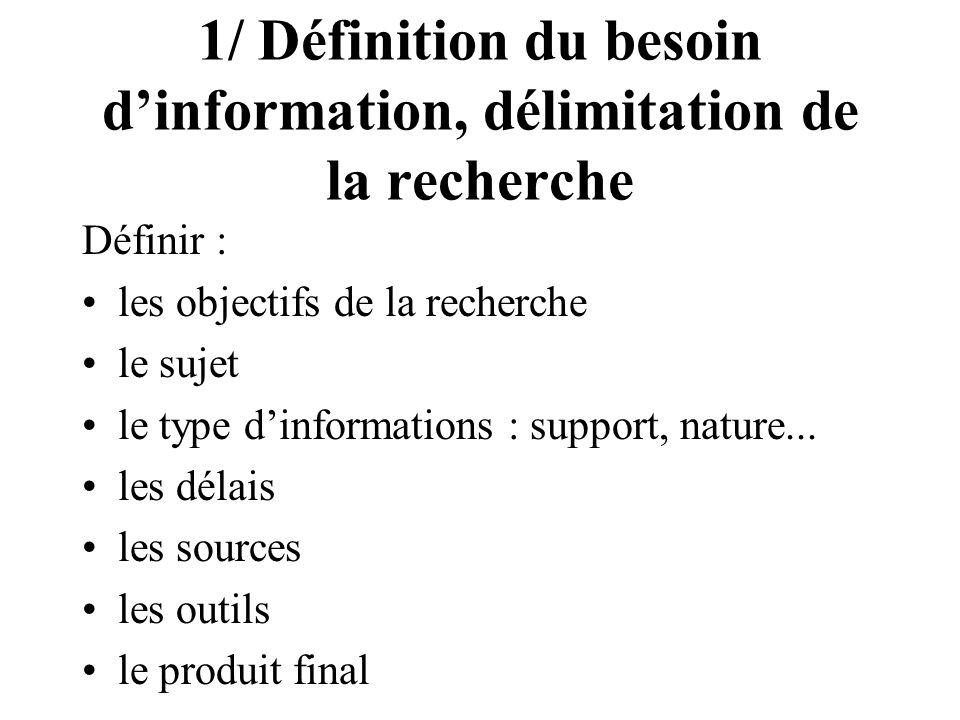 1/ Définition du besoin d'information, délimitation de la recherche