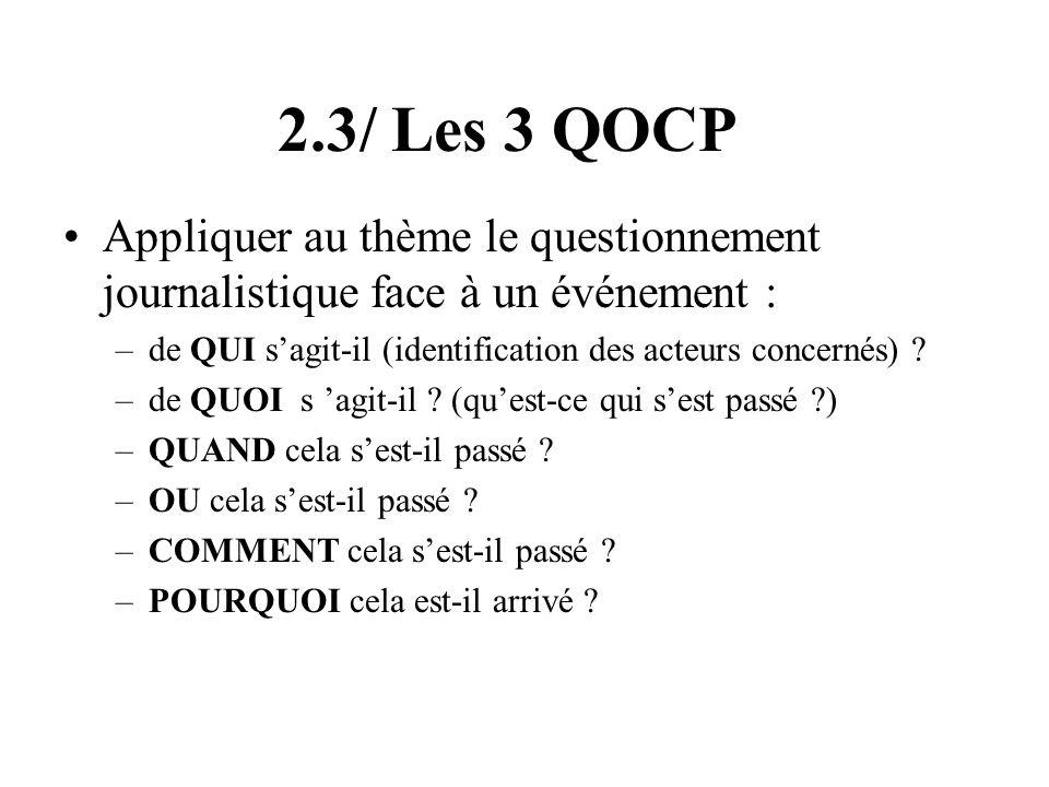 2.3/ Les 3 QOCP Appliquer au thème le questionnement journalistique face à un événement : de QUI s'agit-il (identification des acteurs concernés)