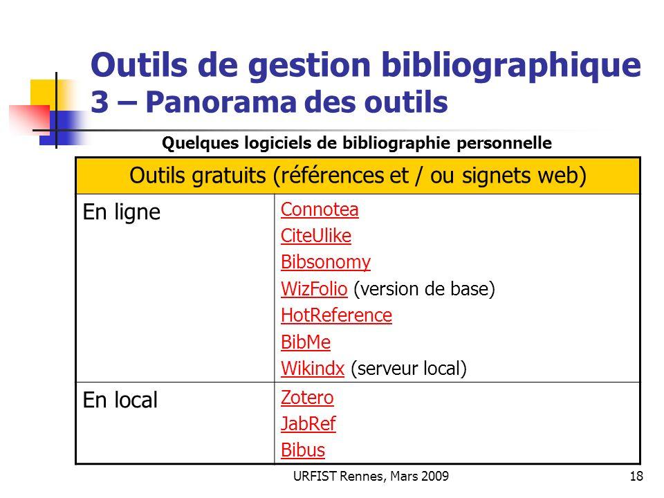 Outils de gestion bibliographique 3 – Panorama des outils