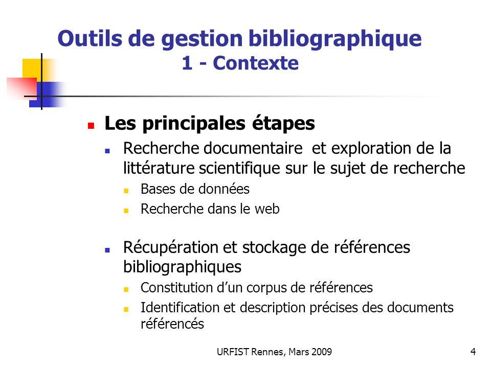 Outils de gestion bibliographique 1 - Contexte