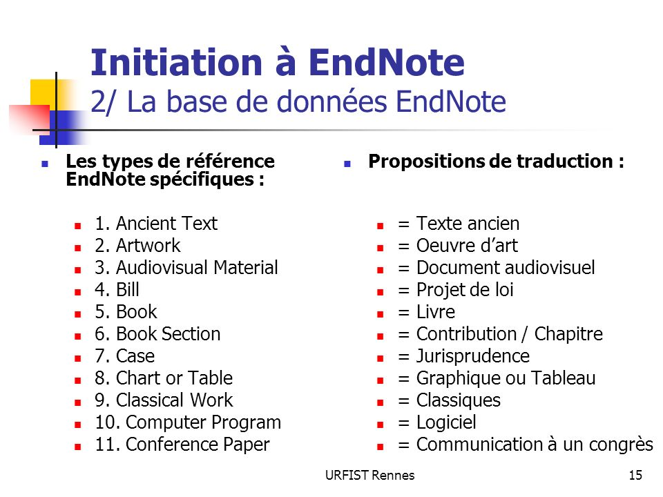Initiation à EndNote 2/ La base de données EndNote