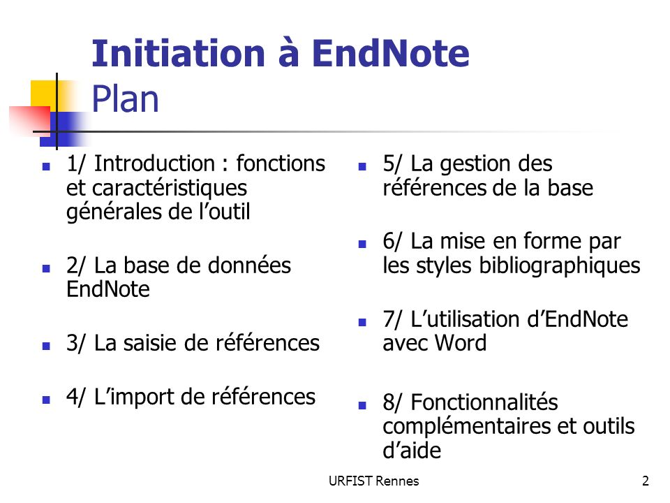 Initiation à EndNote Plan