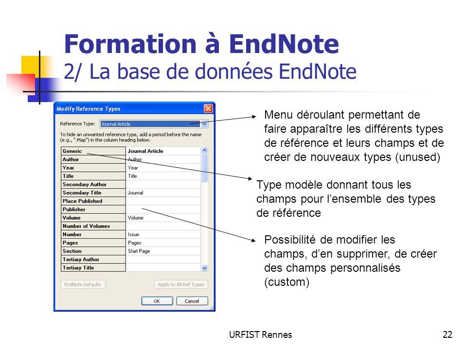 Formation à EndNote 2/ La base de données EndNote