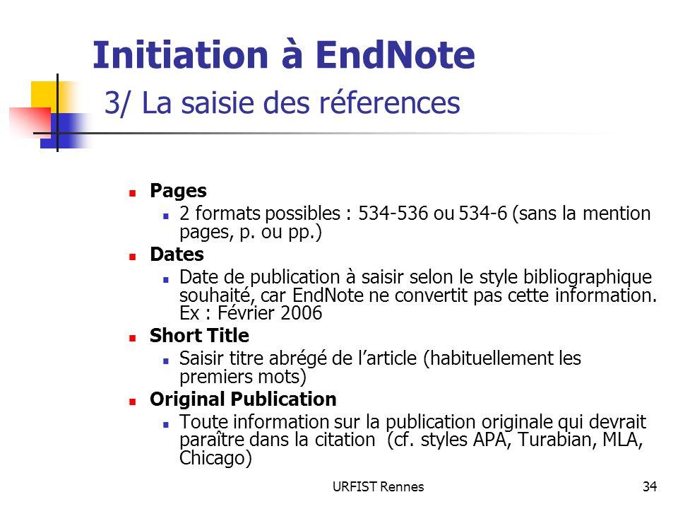 Initiation à EndNote 3/ La saisie des réferences