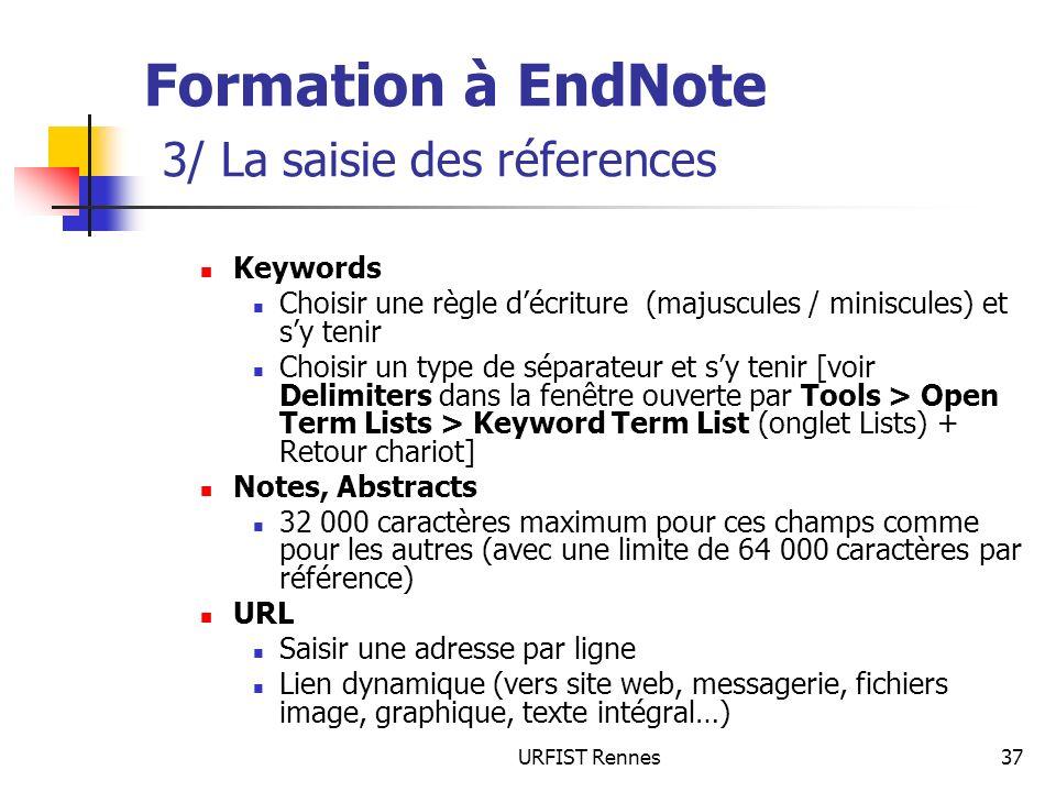 Formation à EndNote 3/ La saisie des réferences