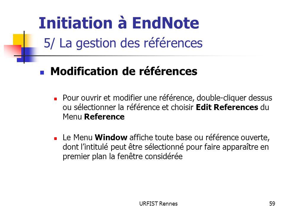 Initiation à EndNote 5/ La gestion des références