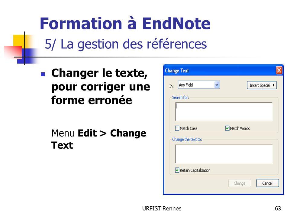 Formation à EndNote 5/ La gestion des références