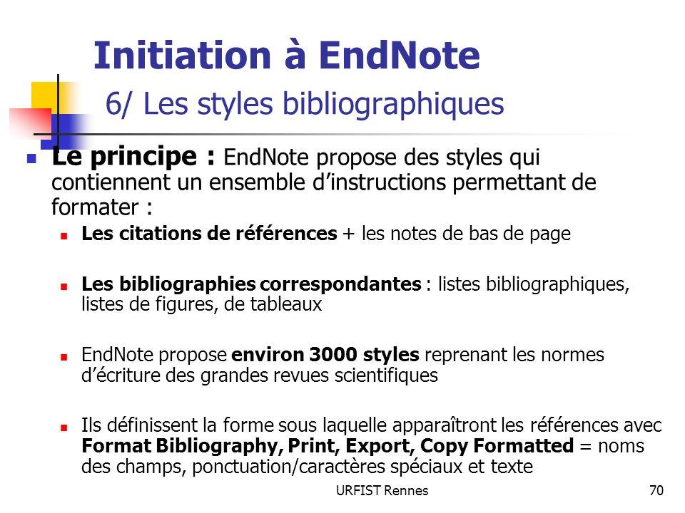 Initiation à EndNote 6/ Les styles bibliographiques
