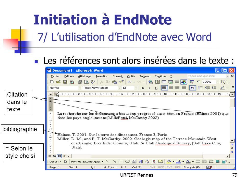 Initiation à EndNote 7/ L'utilisation d'EndNote avec Word
