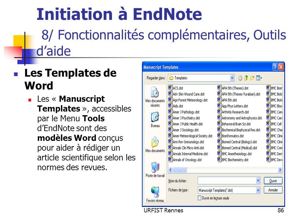 Initiation à EndNote 8/ Fonctionnalités complémentaires, Outils d'aide
