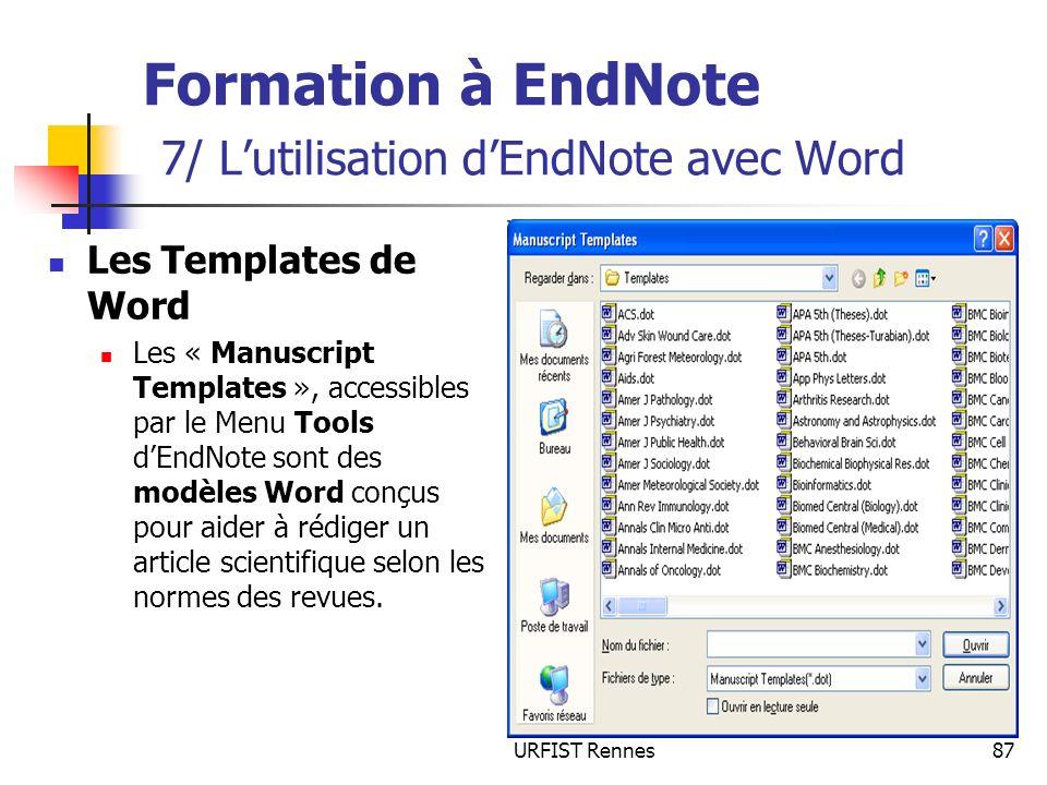 Formation à EndNote 7/ L'utilisation d'EndNote avec Word