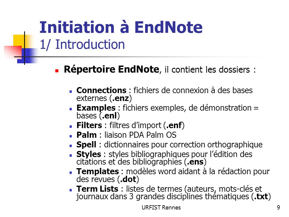Initiation à EndNote 1/ Introduction