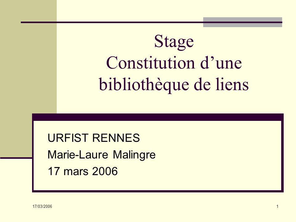 Stage Constitution d'une bibliothèque de liens