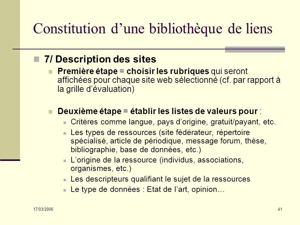 Constitution d'une bibliothèque de liens