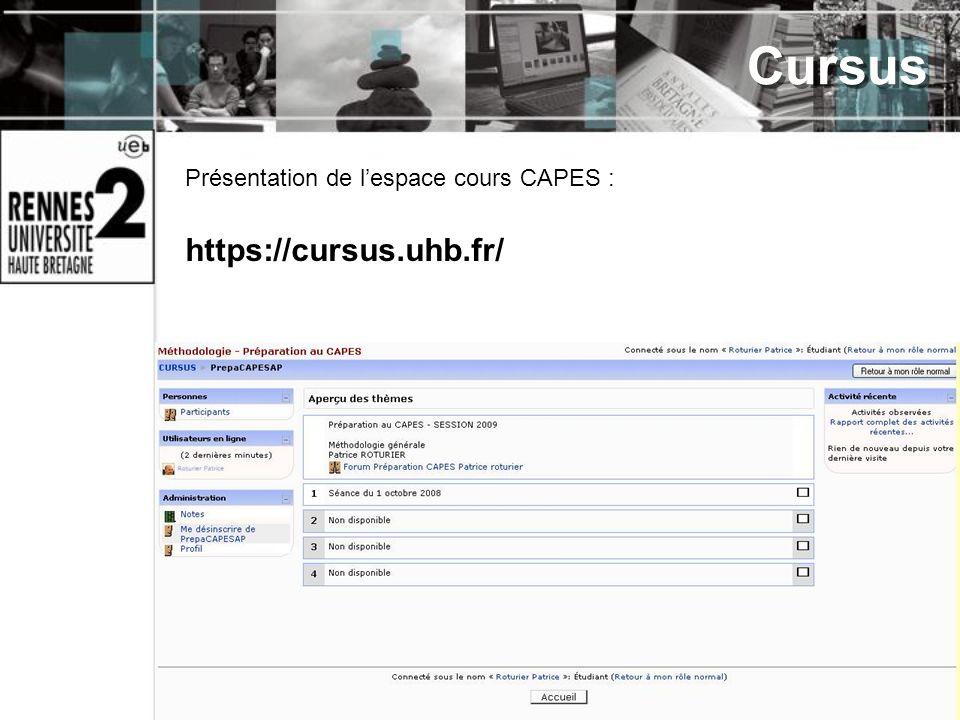 Cursus Présentation de l'espace cours CAPES : https://cursus.uhb.fr/