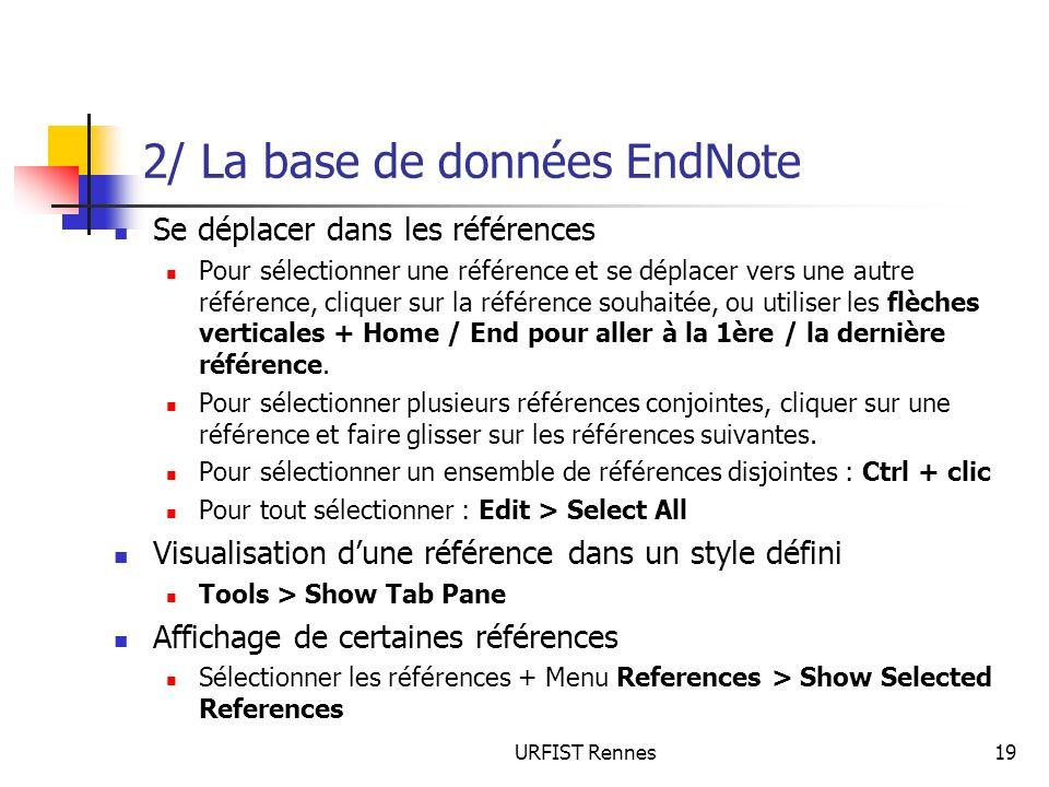 2/ La base de données EndNote