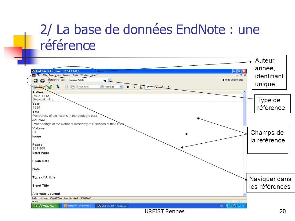 2/ La base de données EndNote : une référence